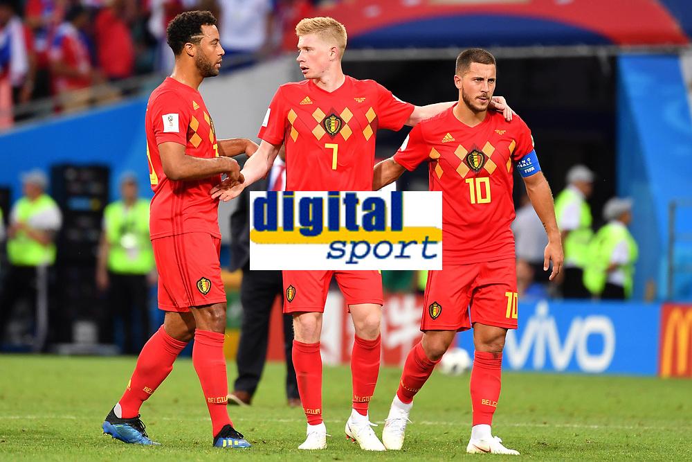 v.re:Eden HAZARD (BEL),Kevin DE BRUYNE (BEL),N.N nach Spielende. Aktion. Belgien (BEL) - Panama (PAN) 3-0, Vorrunde, Gruppe G, Spiel 13, am 18.06.2018 in SOTSCHI,Fisht Olymipic Stadium. Fussball Weltmeisterschaft 2018 in Russland vom 14.06. - 15.07.2018. *** ve Eden HAZARD BEL Kevin DE BRUYNE BEL N N after end of game Action Belgium BEL Panama PAN 3 0 Preliminary Group G Match 13 on 18 06 2018 in SOCHI Fisht Olymipic Stadium Football World Cup 2018 in Russia vom 14 06 15 07 2018