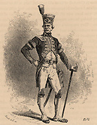 Mining captain in full ceremonial dress and carrying his baton of office: Saxony, Germany.  From 'Underground Life; or, Mines and Miners' by Louis Simonin (London, 1869). Wood engraving.