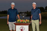 Martin Laird (SCO) and his caddie, Ryan Hogue with the trophy for winning the 2020 Shriner's Hospital for Children Open, TPC Summerlin, Las Vegas, NV. 10/11/2020.<br /> Picture: Golffile | Ken Murray<br /> <br /> <br /> All photo usage must carry mandatory copyright credit (© Golffile | Ken Murray)