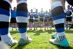 The Bath team huddle together after the match - Photo mandatory by-line: Patrick Khachfe/JMP - Mobile: 07966 386802 16/05/2015 - SPORT - RUGBY UNION - Bath - The Recreation Ground - Bath Rugby v Gloucester Rugby - Aviva Premiership