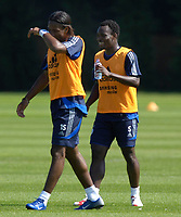 Photo: Daniel Hambury.<br />Chelsea Training Session. The Barclays Premiership. 24/07/2006.<br />Michael Essien (L) and Didier Drogba mess around during training.