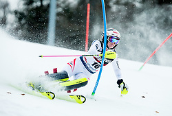 """Katharina Truppe (AUT) competes during 1st Run of FIS Alpine Ski World Cup 2017/18 Ladies' Slalom race named """"Snow Queen Trophy 2018"""", on January 3, 2018 in Course Crveni Spust at Sljeme hill, Zagreb, Croatia. Photo by Vid Ponikvar / Sportida"""