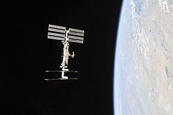October 4, 2018 - Earth Atmosphere - The International Space Station photographed by Expedition 56 crew members from a Soyuz spacecraft after undocking. NASA astronauts Andrew Feustel and Ricky Arnold and Roscosmos cosmonaut Oleg Artemyev executed a fly around of the orbiting laboratory to take pictures of the station before returning home after spending 197 days in space. The station will celebrate the 20th anniversary of the launch of the first element Zarya in November 2018. (Credit Image: © Roscosmos/NASA via ZUMA Wire/ZUMAPRESS.com)