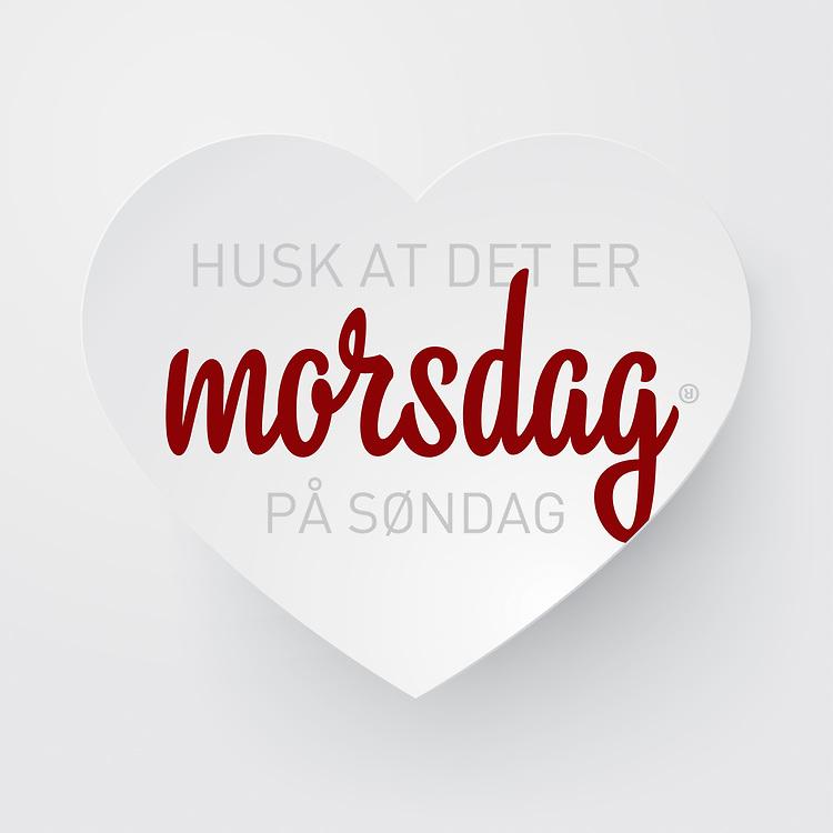 Grafikk med norsk tekst «Husk at det er morsdag på søndag». Bildet er spesielt egnet for butikker som ønsker å gi kundene en påminnelse opp mot morsdagen. Utmerket til bruk i både til print og i sosiale medier som Facebook og Instagram.