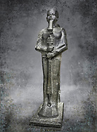 Ancient Egyptian statue of the god Ptah, granodiorite, New Kingdom, 18th Dynasty, (1390-1353 BC)Karnak. Egyptian Museum, Turin. <br /> <br /> The statue of the god Ptah is in the likeness of the reigning king Amenhotep III with a youthful almost feminine face, full cheeks, large smiling mouth and fleshy lips. The large almond shaped eyes are characteristic of the period as is the outline of the lips, Drovetti collection. Cat 86
