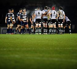 The two teams prepare to scrum - Photo mandatory by-line: Dougie Allward/JMP - Tel: Mobile: 07966 386802 08/03/2013 - SPORT - RUGBY - Memorial Stadium - Bristol. Bristol v Nottingham - RFU Championship.