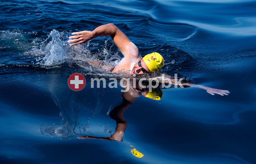 Gino Deflorian of Switzerland swims while crossing the English Channel in 11 Hours 6 Minutes from Samphire Hoe (Great Britain) to Cap Gris Nez (France) at the beach in Cap Gris Nez, France, Tuesday, Aug. 20, 2013. Gino Deflorian is the first Swiss male swimmer who successfully swims the English Channel and the third Swiss. (Photo by Patrick B. Kraemer / MAGICPBK)