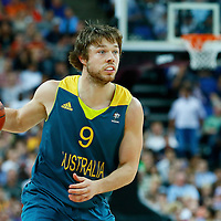 08 August 2012: Australia Matt Dellavedova  brings the ball upcourt during 119-86 Team USA victory over Team Australia, during the men's basketball quarter-finals, at the 02 Arena, in London, Great Britain.