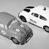 VW 1200 model car with VW police car, Corgi Volkswagen Collection