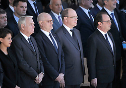 Najat Vallaud-Belkacem, Jean-Marc Ayrault, Serge Telle, HSH Prince Albert II of Monaco and Francois Hollande attending the National Ceremony for the 86 victims of Nice terror attack on last 14th July 2016 at the Colline du Château in Nice, southern France, on october 15, 2016. Ministers and politicians in front of about 2000 people including the victims families and rescue forces participated ceremony. Photo by Pierre Rousseau/CIT'images/ABACAPRESS.COM