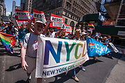 New York, NY - 25 June 2017. New York City Heritage of Pride March filled Fifth Avenue for hours with groups from the LGBT community and it's supporters. Marchers from the NYCLU and the ACLU, Grand Marshall of the march.