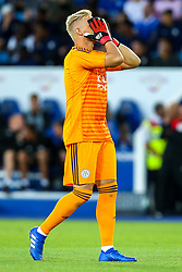 Kasper Schmeichel of Leicester City cuts a frustrated figure - Mandatory by-line: Robbie Stephenson/JMP - 01/08/2018 - FOOTBALL - King Power Stadium - Leicester, England - Leicester City v Valencia - Pre-season friendly