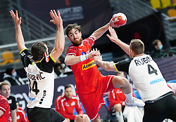 14.01.2021, 6th of October Sports Hall, Gizeh, EGY, IHF WM 2021, Österreich vs Schweiz, Herren, Gruppe E, im Bild Alen Milosevic, Boris Zivkovic, Lenny Rubin, // during the IHF men's World Championship group E match between Austria and Switzerland at the 6th of October Sports Hall in Gizeh, Egypt on 2021/01/14. EXPA Pictures © 2020, PhotoCredit: EXPA/ Diener/Eva Manhart<br /> <br /> *****ATTENTION - OUT of AUT and SUI*****