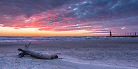 Winter sunset on South Beach in South Haven, Michigan