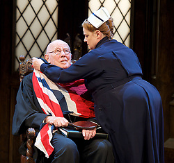 Forty Years On <br /> by Alan Bennett <br /> at Festival Theatre Chichester , Great Britain <br /> press photocall <br /> 25th April 2017 <br /> <br /> Richard Wilson as Headmaster <br /> <br /> Alan Cox as Franklin <br /> <br /> Danny Lee Wynter as Tempest <br /> <br /> Jenny Galloway as Matron <br /> <br /> Lucy Briers as Miss Nisbitt <br /> <br /> Michael Hamway as Tregold - rugby boy <br /> <br /> Cameron House as pupil <br /> Alex Phillips as pupil <br /> <br /> <br /> <br /> Photograph by Elliott Franks <br /> Image licensed to Elliott Franks Photography Services