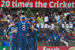© Licensed to London News Pictures. 29/09/2012. The England team celebrate after getting the wicket of Rob Nicol during the T20 Cricket World super 8's match between England Vs New Zealand at the Pallekele International Stadium Cricket Stadium, Pallekele. Photo credit : Asanka Brendon Ratnayake/LNP