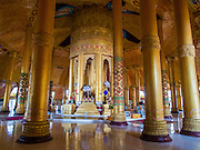 10 NOVEMBER 2014 - SITTWE, MYANMAR: The interior of Lokananda Paya, the main Buddhist pagoda (paya) in Sittwe, Myanmar. Sittwe is a small town in the Myanmar state of Rakhine, on the Bay of Bengal.    PHOTO BY JACK KURTZ