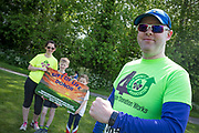 NO FEE PICTURES<br /> 19/5/18 Hundreds of people of all ages lapped up the summer sunshine when they came out to support an important cause which is close to many of their hearts, organ donation, by taking part in the Irish Kidney Association's 'Run for a Life' family fun run which took place at Corkagh Park, Clondalkin, Dublin 22 on Saturday 19th May.   (www.runforalife.ie)  Heart transplant receipiant Ken mulkerrins, with wife Pamela, son Conor 9 and daughter kate 6. Picture:Arthur Carron