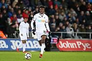 Tammy Abraham of Swansea city in action. The Emirates FA Cup, 4th round replay match, Swansea city v Notts County at the Liberty Stadium in Swansea, South Wales on Tuesday 6th February 2018.<br /> pic by  Andrew Orchard, Andrew Orchard sports photography.