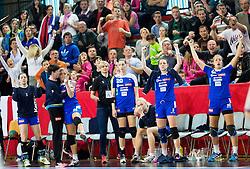 Teja Fefolja, Sanja Gregorc celebrate during handball game between Women National Teams of Slovenia and Switzerland in 2014 Women's European Championship Qualification, on March 30, 2014 in Arena Kodeljevo, Ljubljana, Slovenia. Photo by Vid Ponikvar / Sportida