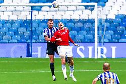 Lyndon Dykes of Queens Park Rangers jumps to head the ball - Mandatory by-line: Ryan Crockett/JMP - 03/10/2020 - FOOTBALL - Hillsborough - Sheffield, England - Sheffield Wednesday v Queens Park Rangers - Sky Bet Championship