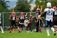 KELOWNA, BC - SEPTEMBER 8:  Malcolm Miller #3 of Okanagan Sun scores a touchdown against the Langley Rams  at the Apple Bowl on September 8, 2019 in Kelowna, Canada. (Photo by Marissa Baecker/Shoot the Breeze)