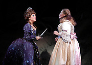 Miami, FL -- Feb. 09, 2005 -- Florida Grand Opera production of The Magic Flute by Wolfgang Amadeus Mozart. Queen of the Night played by Amanda Pabyan swears her revenge and gives her daughter Pamina played by Christina Pier a dagger demanding that she kill Sarastro. The Magic Flute (Die Zauberflöte) is the product of a unique collaboration between the actor-manager Emanuel Schikaneder, who commissioned it in 1791, and Mozart.