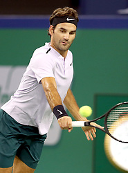 SHANGHAI, Oct. 14, 2017  Roger Federer of Switzerland hits a return during the singles semifinal match against Juan Martin del Potro of Argentina at 2017 ATP Shanghai Masters tennis tournament in Shanghai, east China, on Oct. 14, 2017. (Credit Image: © Fan Jun/Xinhua via ZUMA Wire)