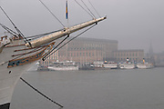 The Swedish Royal Palace in the Gamla Stan, Old Town. The bow of the Af Chapman ship in the foreground. In foggy winter weather. The Af Chapman three masted former school tall ship, now anchored off Skeppsholmen and functioning as a youth hostel. Stockholm. Sweden, Europe.