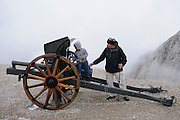 First world war cannon on Mount Marmolada in northeastern Italy. The highest mountain of the Dolomites