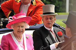 HM The QUEEN and HRH the DUKE OF EDINBURGH at the Royal Ascot racing festival 2009 held on 17th June 2009.