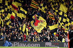 Watford fans in the stands during the FA Cup quarter final match at Vicarage Road, Watford.
