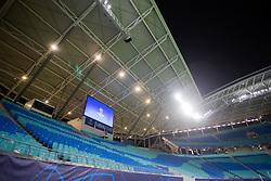 10.03.2020, Red Bull Arena, Leipzig, GER, UEFA CL, RB Leipzig vs Tottenham Hotspur, Achtelfinale, im Bild Fussball: UEFA Champions League, Achtelfinele, RB Leipzig - Tottenham Hotspur. Leere Tribünen / Zuschauerplätze / Ränge in der RedBull Arena. Wegen des Coronavirus (COVID-19) werden vermehrt Großveranstaltungen und Fussballspiele abgesagt oder es kommt zu Geisterspielen. // during the UEFA Champions League round of 16 match between RB Leipzig and Tottenham Hotspur at the Red Bull Arena in Leipzig, Germany on 2020/03/10. EXPA Pictures © 2020, PhotoCredit: EXPA/ Eibner-Pressefoto/ Tom Weller<br /> <br /> *****ATTENTION - OUT of GER*****