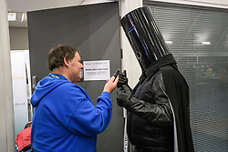 © Licensed to London News Pictures. 13/12/2019. London, UK. LORD BUCKETHEAD speaks to media as he arrives at the Hillingdon General Election count for the constituency of Uxbridge and South Ruislip. A general election was called for December 12th following a deadlock in Parliament over the UK's decision to leave the EU. Photo credit: Ben Cawthra/LNP