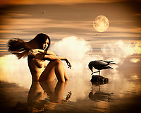 An Asian girl is sitting in the sea watching a seagull. The girl is naked and her hair is blowing in the wind. Clouds and a full moon make this scene somewhat mysterious. –<br /> -<br /> BUY THIS PRINT AT<br /> <br /> FINE ART AMERICA<br /> ENGLISH<br /> https://janke.pixels.com/featured/girl-with-the-seagull-jan-keteleer.html<br /> <br /> <br /> WADM / OH MY PRINTS<br /> DUTCH / FRENCH / GERMAN<br /> https://www.werkaandemuur.nl/nl/shopwerk/Meisje-met-de-zeemeeuw/808838/132?mediumId=1&size=70x55<br /> <br /> -