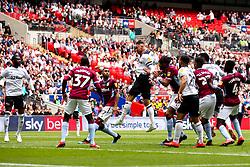 Richard Keogh of Derby County heads over the bar - Mandatory by-line: Robbie Stephenson/JMP - 27/05/2019 - FOOTBALL - Wembley Stadium - London, England - Aston Villa v Derby County - Sky Bet Championship Play-off Final
