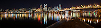 Portland Skyline and Hawthorne Bridge, at night<br /> <br /> Shot in Portland, OR, USA
