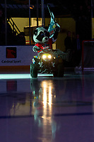 KELOWNA, BC - JANUARY 26: Rocky Raccoon, the mascot of the Kelowna Rockets, enters the ice on his Polaris ATV against the Vancouver Giants at Prospera Place on January 26, 2020 in Kelowna, Canada. (Photo by Marissa Baecker/Shoot the Breeze)