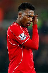 Daniel Sturridge of Liverpool looks frustrated - Photo mandatory by-line: Rogan Thomson/JMP - 07966 386802 - 16/03/2015 - SPORT - FOOTBALL - Swansea, Wales — Liberty Stadium - Swansea City v Liverpool - Barclays Premier League.