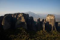 Greece, Meteora, cliffs in sunrise