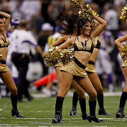 September 9, 2010; New Orleans, LA, USA; New Orleans Saints Saintsations cheerleaders perform during the NFL Kickoff season opener at the Louisiana Superdome. The New Orleans Saints defeated the Minnesota Vikings 14-9.  Mandatory Credit: Derick E. Hingle