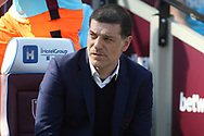 West Ham United Manager Slaven Bilic looks on. Premier league match, West Ham Utd v Swansea city at the London Stadium, Queen Elizabeth Olympic Park in London on Saturday 8th April 2017.<br /> pic by Steffan Bowen, Andrew Orchard sports photography.
