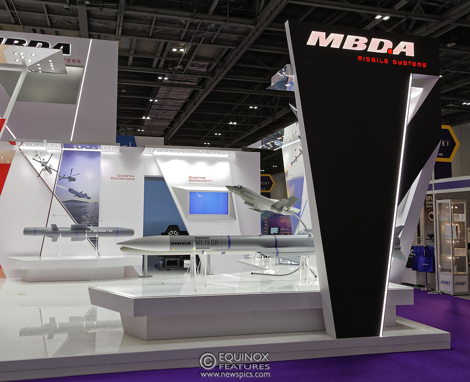 London, United Kingdom - 18 September 2015<br /> Missile manufacturer MBDA display their products including the ASRAAM air to air missile, a variant of which has just been ordered by the Ministry of Defence in a £300m contract, at the defence and security exhibition DSEI at ExCeL, Woolwich, London, England, UK.<br /> (photo by: EQUINOXFEATURES.COM)<br /> <br /> Picture Data:<br /> Photographer: Equinox Features<br /> Copyright: ©2015 Equinox Licensing Ltd. +448700 780000<br /> Contact: Equinox Features<br /> Date Taken: 20150918<br /> Time Taken: 13022857<br /> www.newspics.com