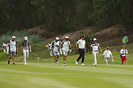 Rasmus Hojgaard (DEN), Thomas Pieters (BEL) and Pablo Larrazabal (ESP) on the 1st during Round 1 of the Oman Open 2020 at the Al Mouj Golf Club, Muscat, Oman . 27/02/2020<br /> Picture: Golffile   Thos Caffrey<br /> <br /> <br /> All photo usage must carry mandatory copyright credit (© Golffile   Thos Caffrey)