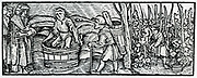 Ploughing with a wheeled plough.  Woodcut from 'Calendarum Romanum Magnum',  1518.