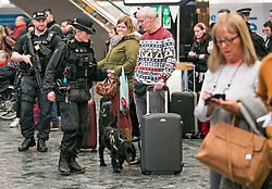 © Licensed to London News Pictures. 23/12/2017. London, UK. A sniffer dog and armed police officers sweep the station as members of the public wait for trains at Euston Station in central London as the Christmas getaway begins. Photo credit: Peter Macdiarmid/LNP