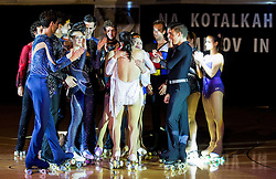 Lucija Mlinaric with her friends during special artistic roller skating event when Lucija Mlinaric of Slovenia, World and European Champion ended her successful sports career, on November 7, 2015 in Rence, Slovenia. Photo by Vid Ponikvar / Sportida