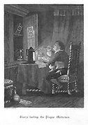 Blaize, the grocer Bloundel's porter, testing all the 'patent' cures he has purchased to protect himself from the plague. Plague of London - 1665. Illustration by John Franklin (fl.1800-61) for William Harrison Ainsworth 'Old Saint Paul's', London,1855 (f