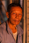 Portrait of crew man on boat n port, Yangon River