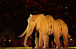 JOHANNESBURG, July 12, 2010  Elephant puppeteers perform during the closing ceremony of the 2010 FIFA football World Cup ahead of the final between the Netherlands and Spain on July 11, 2010 at Soccer City stadium in Johannesburg, South Africa. (Xinhua/Liao Yujie) (Credit Image: © Xinhua via ZUMA Wire)